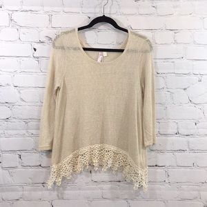 Asymmetrical cream lace hem sweater Francesca's Sm